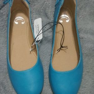 Teal Flats with Lace-up Detailing NWT